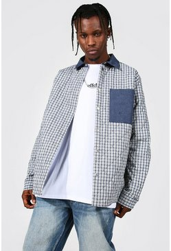 Quilted Checked Overshirt With Contrast Pocket, Navy azul marino