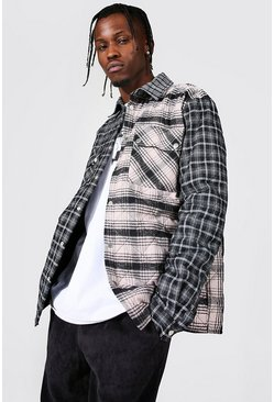 Quilted Spliced Check Overshirt, Black nero