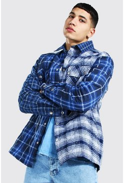 Quilted Spliced Check Overshirt, Cobalt azul