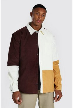 Brown Quilted Colourblock Cord Overshirt