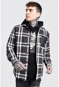 Black Quilted Check And Nylon Mix Overshirt