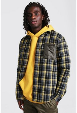 Yellow Quilted Flannel And Nylon Mix Overshirt