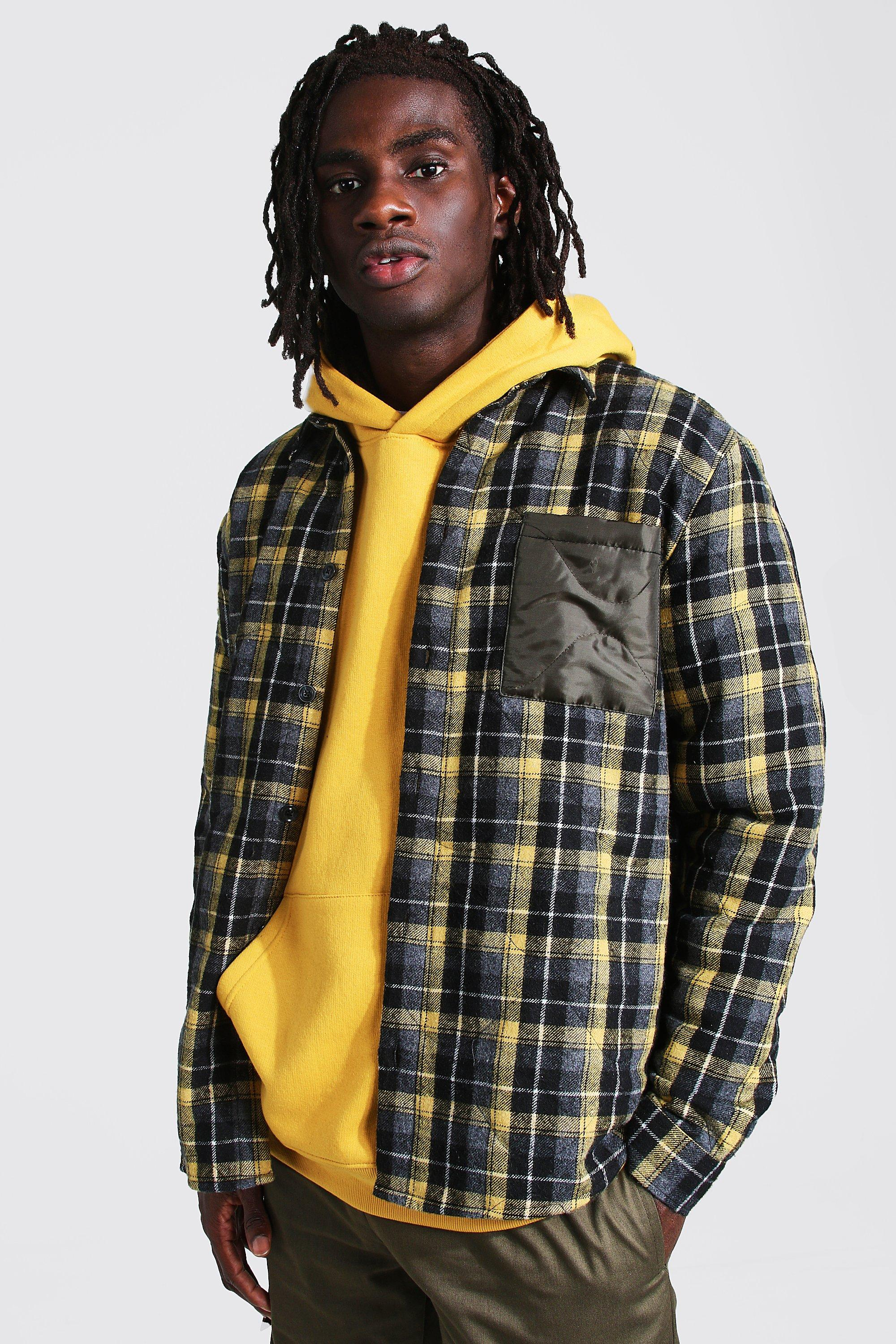 Men's Shirts Sale Quilted Check And Nylon Mix Overshirt