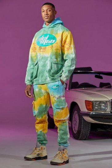 Green Oversized Cargo Tie Dye Printed Tracksuit