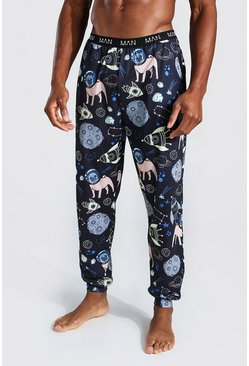 Navy MAN Novelty Space Pug Lounge Joggers