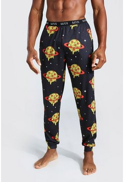 Black MAN Novelty Space Pizza Lounge Joggers