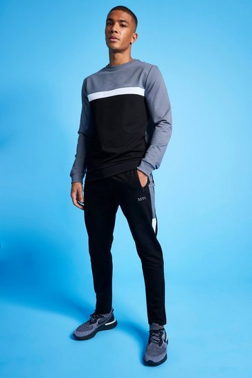 Charcoal grey MAN Active Colour Blocked Sweatshirt Tracksuit