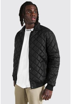 Black Quilted Varsity Harrington