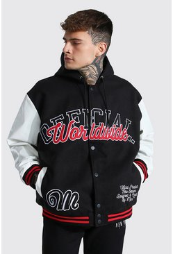 Black svart Hooded Varsity Harrington