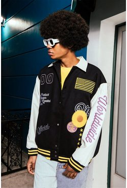 Cream vit Sunflower Varsity Harrington