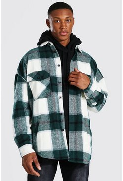 Forest green Oversized Heavy Weight Check Overshirt