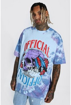 Blue Oversized Official Tie Dye Schedel T-Shirt