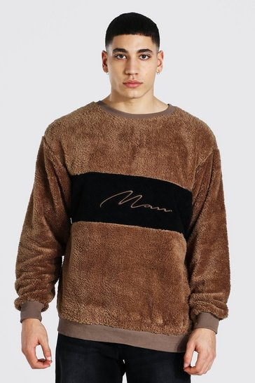 Brown Oversized Man Colour Block Borg Sweat