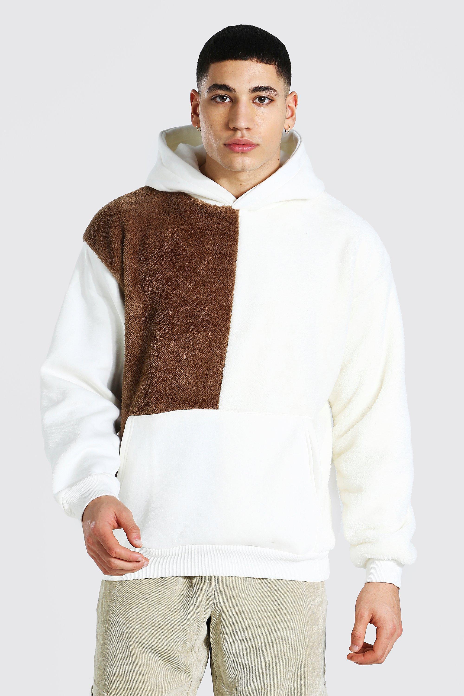 Men's Hoodies & Sweatshirts Oversized Colour Block Borg Hoodie