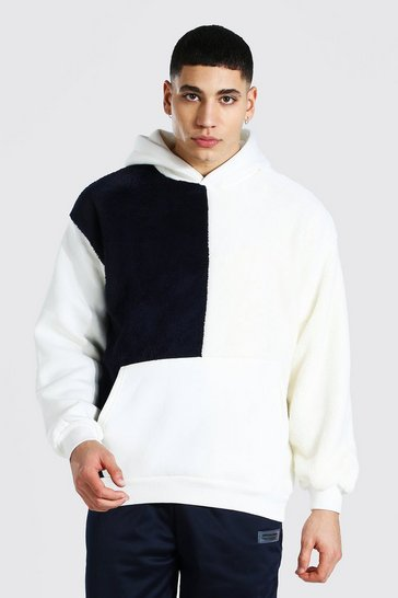 Navy Oversized Colour Block Borg Hoodie