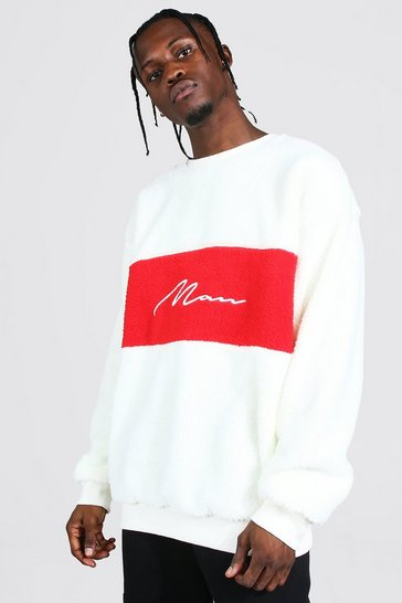Ecru white Oversized Man Colour Block Borg Sweat
