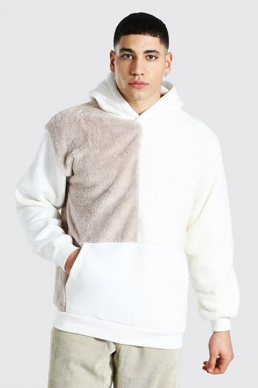 Sand beige Oversized Colour Block Borg Hoodie
