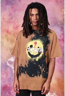 Brown Oversized Tie Dye Smiley Tour T-Shirt