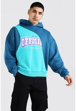 Oversized Official Print Spliced Hoodie, Teal Серый