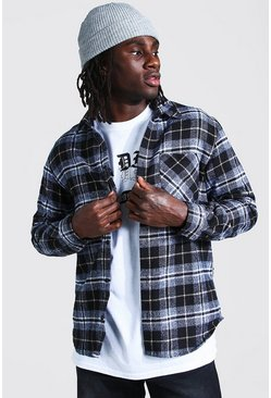 Black Regular Fit Flannel Shirt