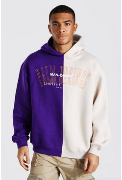 Purple Oversized Palm Springs Spliced Hoodie