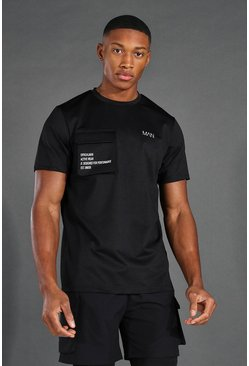 Black Man Active Cargo Pocket T Shirt