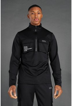 Black Man Active Cargo Pocket 1/4 Zip Top