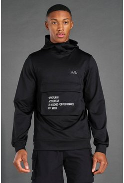 Black Man Active Cargo Pocket Hoodie