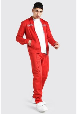 Red Worldwide Embroidered Smart Bomber Tracksuit