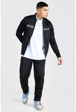 Worldwide Embroidered Smart Bomber Tracksuit, Black negro