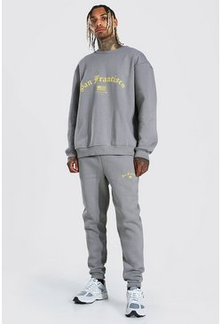 Charcoal grey Oversized San Francisco Sweater Tracksuit