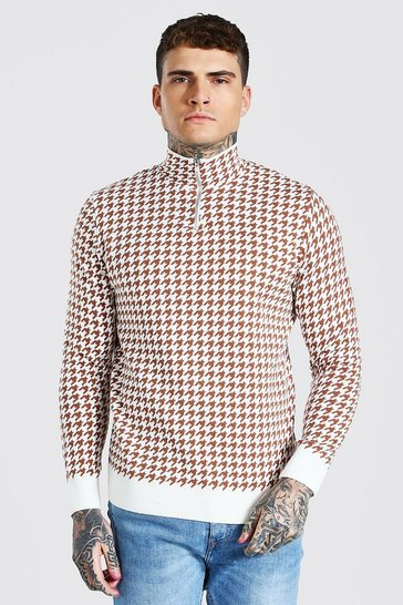 Cream white Half Zip Dogtooth Knitted Jumper