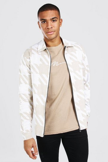 Cream white Oversized Dogtooth Knitted Harrington Jacket