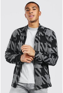 Grey Oversized Gebreide Dogtooth Harrington Jas