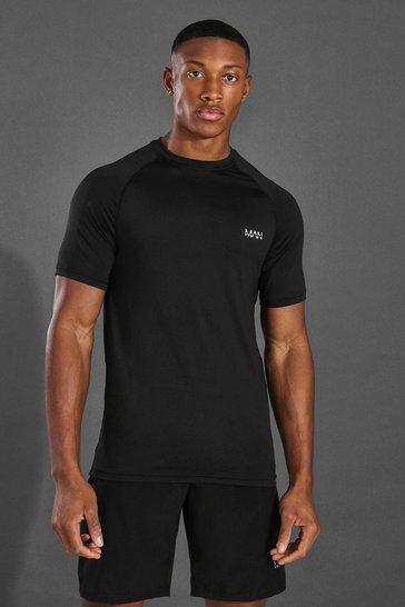 Black Man Active Muscle Fit Raglan T-shirt