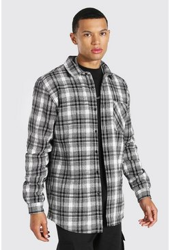 Ecru white Tall Heavy Weight Check Overshirt