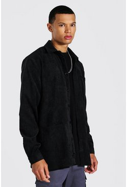 Black Tall Corduroy Button Through Overshirt
