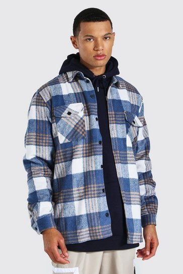 Blue Tall Heavy Weight Check Overshirt