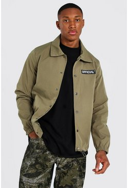 Khaki Man Official Branded Woven Coach Jacket