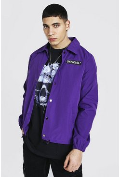 Man Official Branded Woven Coach Jacket, Purple viola