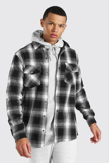 Black Tall Heavy Weight Check Overshirt