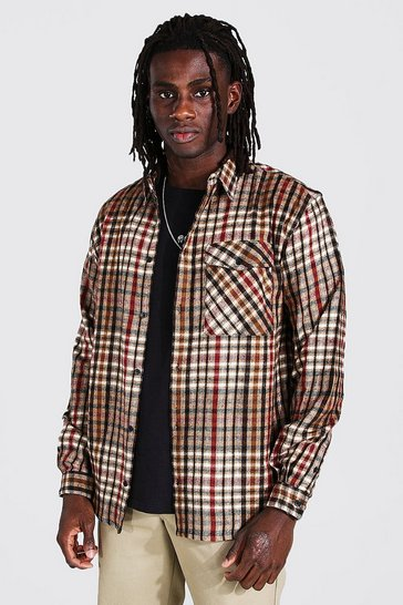 Brown Oversized Check Shirt
