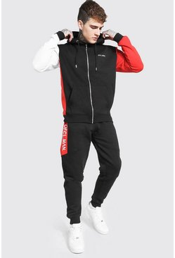 Red Official Man Colour Block Zip Hood Tracksuit