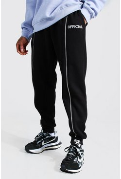 "Black svart ""Official"" Joggers i regular fit med dragkedjor"