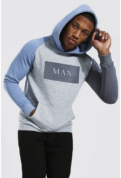 Grey marl grey Man Roman Flock Print Colour Block Hoodie