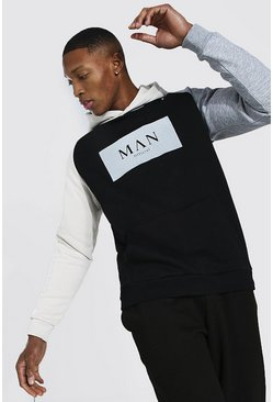 Black Man Roman Flock Print Colour Block Hoodie