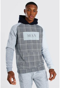 Navy Man Roman Jacquard Colour Block Hoodie