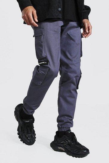 Slate grey Tall Man Twill Zip Multi Pocket Cargo Trouser