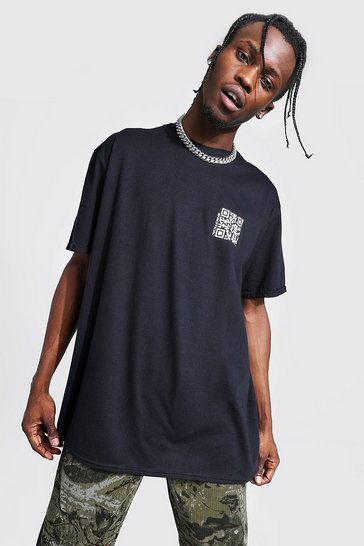 Black Oversized Qr Code Print T-shirt