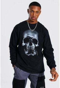 Black Loose Fit Ls Skull Front Print T-shirt